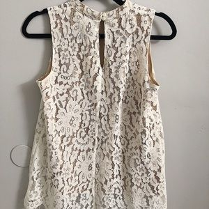 Lovely off-white & nude lace blouse